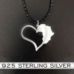 African Continental Heart Handmade 925 Sterling Silver Pendant Necklace