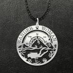 Scuba Diving Wander Woman Mountain Ocean Compass Vintage Handmade 925 Sterling Silver Pendant Necklace