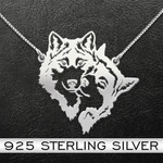 Wolf Couple Necklace Handmade 925 Sterling Silver Pendant Necklace