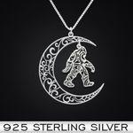 Bigfoot Moon Handmade 925 Sterling Silver Pendant Necklace