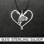 Fishing Fishing Heart Handmade 925 Sterling Silver Pendant Necklace