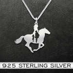 Horse girl with Grandma Handmade 925 Sterling Silver Pendant Necklace