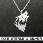 Wolf Wolf Head Natural Pattern Handmade 925 Sterling Silver Pendant Necklace