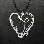 Fishing Mimi Heart Rod And Hook Handmade 925 Sterling Silver Pendant Necklace