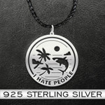 Shark I Hate People Shark At The Beach Handmade 925 Sterling Silver Pendant Necklace