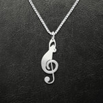 Cat Sol Clef Handmade 925 Sterling Silver Pendant Necklace