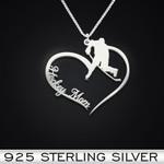 Hockey Heart Mom Handmade 925 Sterling Silver Pendant Necklace