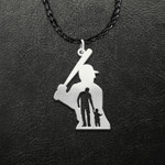 Father And Son Baseball Players For Life Handmade 925 Sterling Silver Pendant Necklace