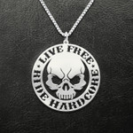Motorcycle Live Free Ride Hard Core Skull Handmade 925 Sterling Silver Pendant Necklace