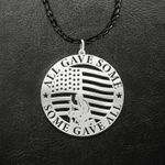 Fallen Soldier Veteran Kneel Before American Flag All Gave Some Some Gave All Handmade 925 Sterling Silver Pendant Necklace
