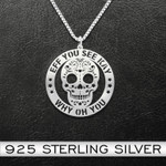 Skull Eff You See Kay Why Oh You Handmade 925 Sterling Silver Pendant Necklace