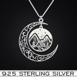 Camping House Necklace Handmade 925 Sterling Silver Pendant Necklace