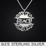 Sunflower Teach Peace Handmade 925 Sterling Silver Pendant Necklace