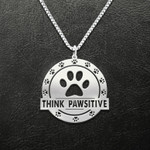Dog Paw Think Pawsitive Handmade 925 Sterling Silver Pendant Necklace
