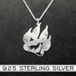 Wolf Wolf Paw Handmade 925 Sterling Silver Pendant Necklace