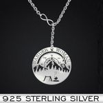 Camping Wander Woman Mountain Tree Tent Compass Peak Fire Vintage Handmade 925 Sterling Silver Pendant Necklace