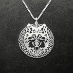 Vikings wild wolf Handmade 925 Sterling Silver Pendant Necklace