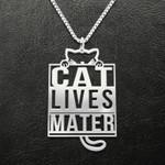 Cat Cat Lives Matter Handmade 925 Sterling Silver Pendant Necklace