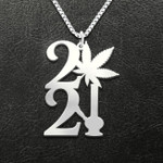 Weed 2021 Handmade 925 Sterling Silver Pendant Necklace