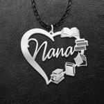 Reading Book Heart Nana Handmade 925 Sterling Silver Pendant Necklace