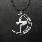 Dancer Dancing In The Moon Dance Mom Handmade 925 Sterling Silver Pendant Necklace