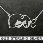Fishing lover Handmade 925 Sterling Silver Pendant Necklace
