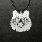 Cool Camping Bear With Glasses Dad Grandpa Papa Bear Handmade 925 Sterling Silver Pendant Necklace
