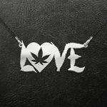 Weed Weed Love Handmade 925 Sterling Silver Pendant Necklace