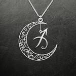 Zodiac Sagittarius Moon Phase Handmade 925 Sterling Silver Pendant Necklace