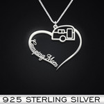 Camping Heart Mom Handmade 925 Sterling Silver Pendant Necklace