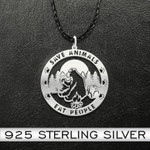 Bear save animals eat people Handmade 925 Sterling Silver Pendant Necklace