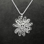 Hippie flower peace Handmade 925 Sterling Silver Pendant Necklace
