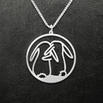 Valentine Rabbit Couple Handmade 925 Sterling Silver Pendant Necklace