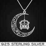 Hippie Moon Van Handmade 925 Sterling Silver Pendant Necklace