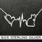 Cat Heartbeat Handmade 925 Sterling Silver Pendant Necklace