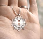 Suicide Prevention Awareness Sunflower The Sun Will Rise And We Will Try Again Handmade 925 Sterling Silver Pendant Necklace