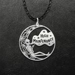 Alien Smoke Weed Get High Handmade 925 Sterling Silver Pendant Necklace