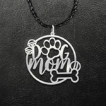 Dog Mom Paw Ball Bone Handmade 925 Sterling Silver Pendant Necklace