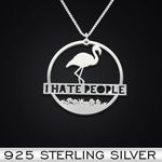 I Hate People Flamingo Handmade 925 Sterling Silver Pendant Necklace