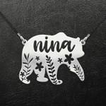 Mother's Day Godmother Nina Bear Flower Leaf Handmade 925 Sterling Silver Pendant Necklace