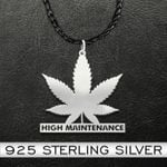 Weed high maintenance Handmade 925 Sterling Silver Pendant Necklace