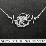 Fishing Fishing Heartbeat Handmade 925 Sterling Silver Pendant Necklace