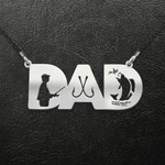 Fising Fishing Dad Handmade 925 Sterling Silver Pendant Necklace