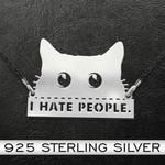 Cat I Hate People Peeking Cat Handmade 925 Sterling Silver Pendant Necklace