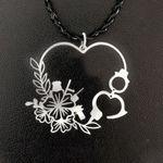 Police flower heart Handmade 925 Sterling Silver Pendant Necklace