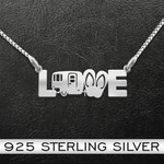Love Camping Handmade 925 Sterling Silver Pendant Necklace
