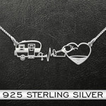 Camping Camping & Wine Heartbeat Handmade 925 Sterling Silver Pendant Necklace