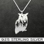 Owl Natural Pattern Owl Handmade 925 Sterling Silver Pendant Necklace