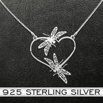 Mandala dragonfly heart Handmade 925 Sterling Silver Pendant Necklace