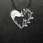 Dog Mom Heart Shape Flower Handmade 925 Sterling Silver Pendant Necklace